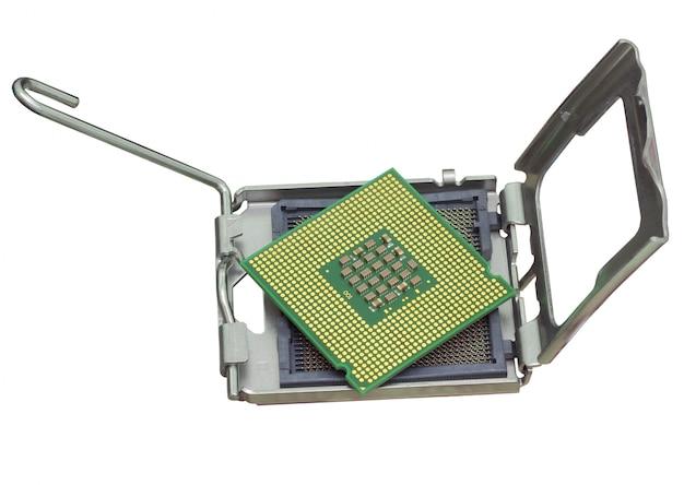 De computer de processor is geïsoleerd gouden kleur met een microschakeling