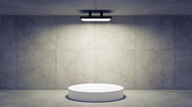 De concrete ruimte met 3d podium, geeft terug