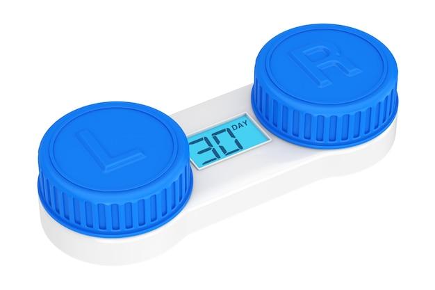 De container van contactlenzen met digitale vertoning die tonen hoeveel dagen vóór lensverandering op een witte achtergrond worden verlaten. 3d-rendering