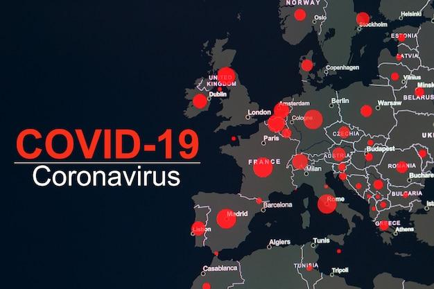 De coronavirus-pandemie met het woord covid-19 op de wereldkaart van europa