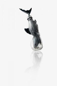 De creatieve conceptenachtergrond door foto van haai (stuk speelgoed model) plakte in transparante blauwe plastic fles, met exemplaarruimte.