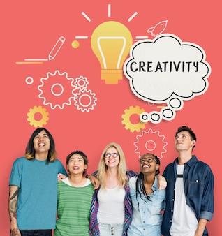 De creatieve inspiratie gedachte dacht bubbels