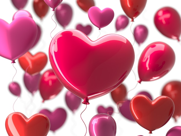 De dag abstracte achtergrond van valentine met rode 3d ballons in hartvorm.