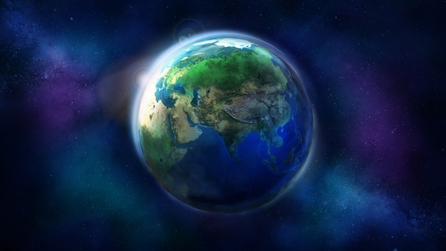 De dag de helft van de aarde vanuit de ruimte