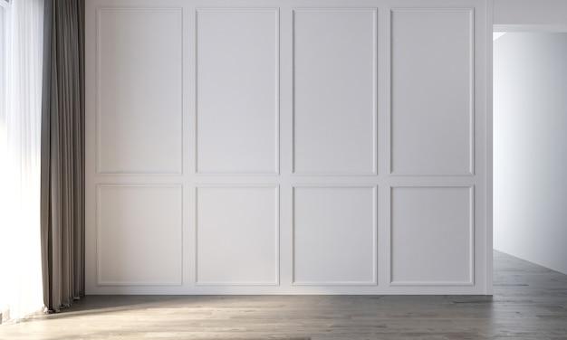 De decoratie en het gezellige mock-up interieur van lege woonkamer en witte muur patroon achtergrond 3d-rendering Premium Foto
