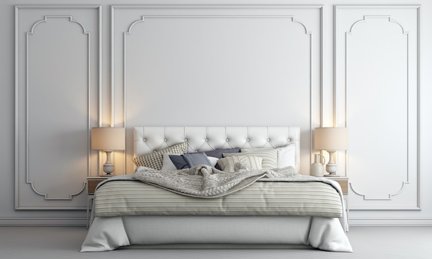De decoratie mock-up interieur en luxe slaapkamer met witte patroon muur textuur achtergrond