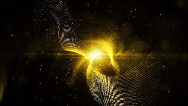 De digitale abstracte gouden kleurendelen verdraaien en steken achtergrond aan