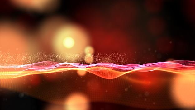 De digitale stroom van de deeltjesgolf met bokeh abstracte achtergrond