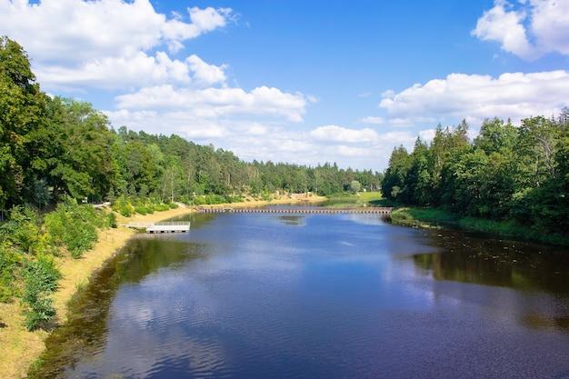De dijk is begroeid met bos en een brug over de rivier. bank of the ogre