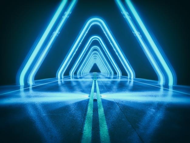 De donkerblauwe abstracte achtergrond, futuristische weg met licht en effect 3d concept, geeft terug