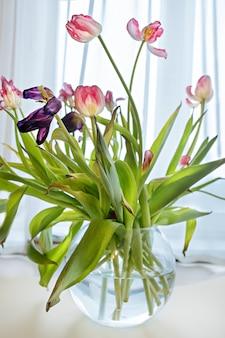 De droge tulp bloeit close-up in heldere sunlights. witroze verwelkte bloemblaadjes van tulpenbloesems. verwelkende lentebloemen in vaas. vernietiging concept. schoonheid van vervagende bloemen