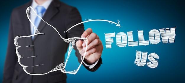De duim van de zakenmantekening op illustratie met een pen