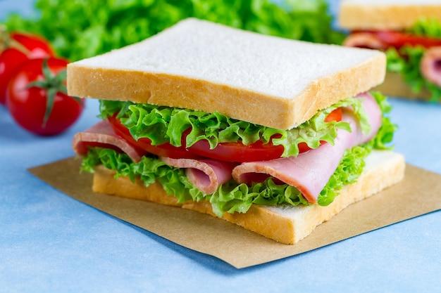 De eigengemaakte sandwich met ham, toostbrood en verse groenten sluit omhoog op blauwe surfce