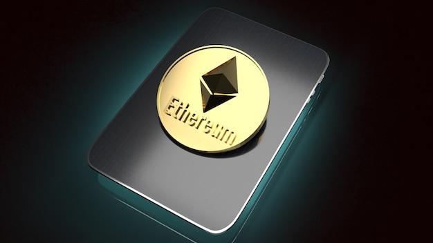 De ethereum-munten op tablet voor 3d-rendering van zakelijke inhoud.