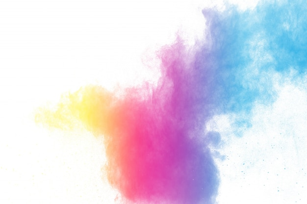 De explosie van het abstracte kleurenpoeder op witte achtergrond