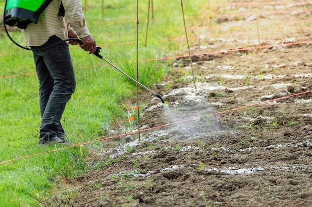 De famer sproeit insecticide.
