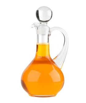 De fles van het plantaardige olieglas op wit wordt geïsoleerd dat