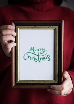 De foto van de handtekening van de kaart van de kerstmisdag
