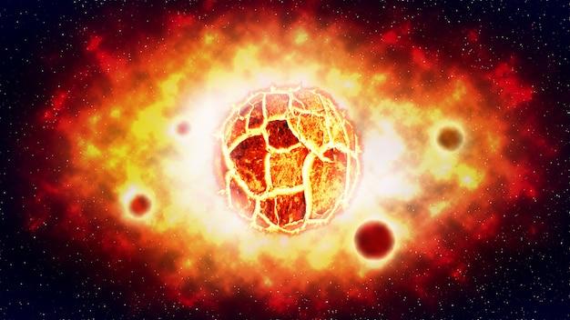 De gebarsten zonnebrand explosie en planeet op ruimte. illustratie.