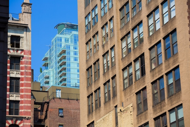 De gebouwentexturen van manhattan van de binnenstad van new york