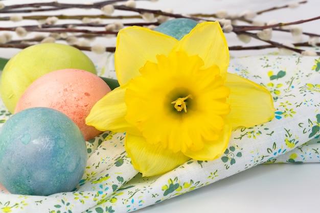 De gekleurde eieren pasen-van de de gele narcisbloem van de lente bloeien selectieve zachte nadruk