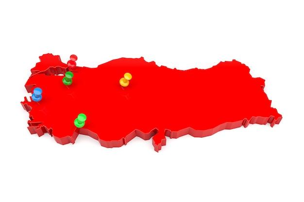 De gekleurde knoppen geven de locatiekaart van het land van turkije aan