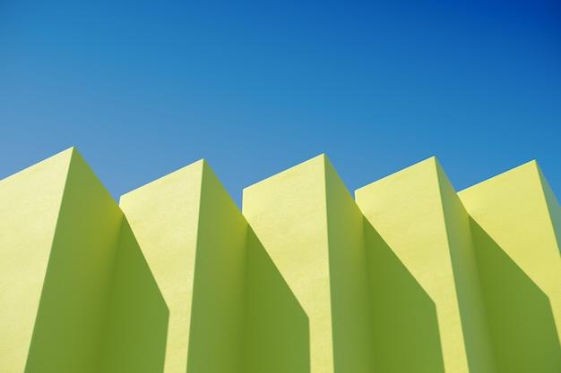 De gele doosbouw met schaduwen op hemelachtergrond. minimaal architectuurideeënconcept. 3d render.