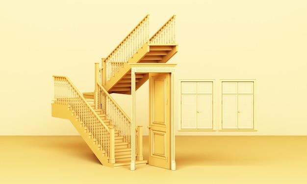 De gele klassiek gestileerde deur staat open en de trap met ramen