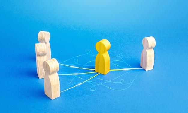 De gele persoon treedt op als bemiddelaar tussen mensen. overbruggende partijen, communicatie