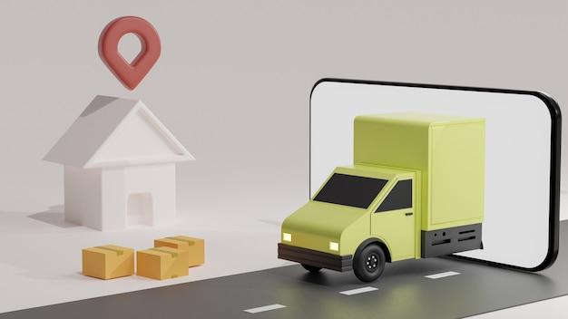 De gele vrachtwagen op het gsm-scherm, over witte achtergrond bestelling levering