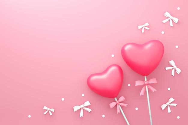 De gelukkige achtergrond van de valentijnskaartendag met liefdesuikergoed en klein lint