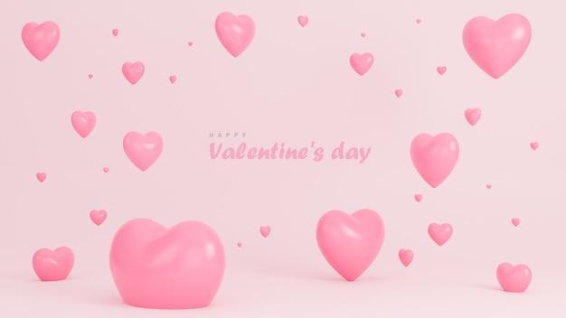 De gelukkige banner van de valentijnskaartdag met vele harten 3d voorwerpen op roze achtergrond.