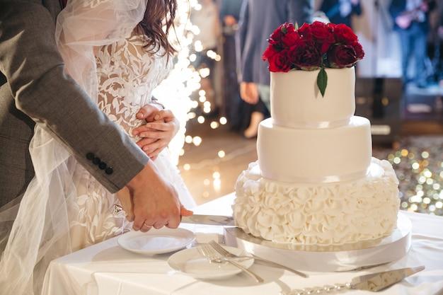 De gelukkige bruid en de bruidegom snijden een huwelijkscake