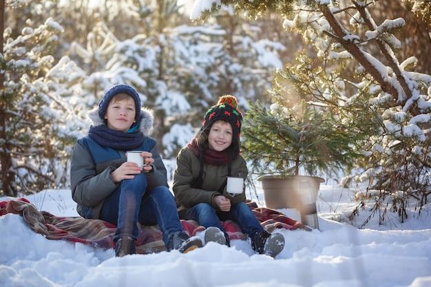 De gelukkige familie twee broers op een de winter loopt in openlucht drinkend chocolade.