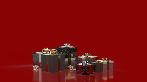 De geschenkdozen op rood