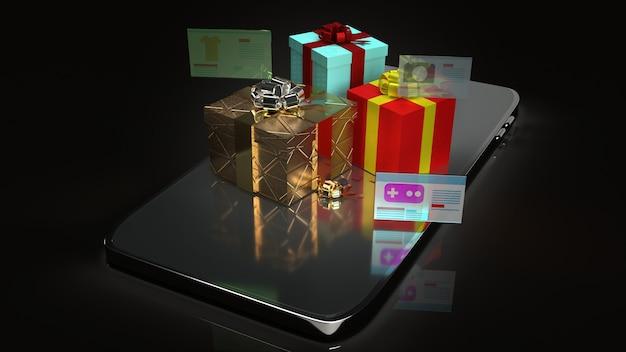 De geschenkdozen op slimme telefoon voor het online winkelen inhoud 3d-rendering