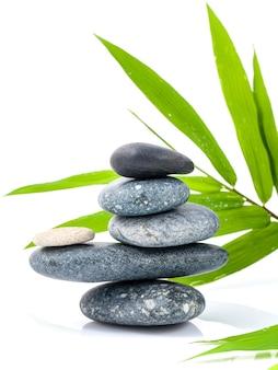 De gestapelde spa-behandeling van stones en bamboebladeren.