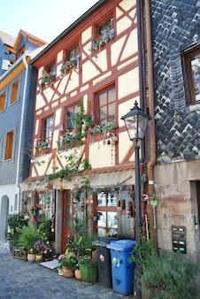 De gevel van het oude gebouw is gevlochten door krulgroene planten en een versierde entree