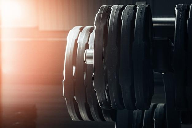 De gewichtsplaten van de gymnastiek op houder sluiten omhoog
