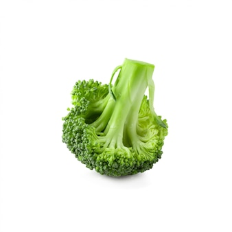 De gezonde verse of broccoliblokken van blokkerry voor koken geïsoleerd op wit