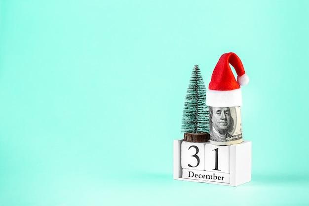 De gift van het kerstmisgeld op groen biscay.