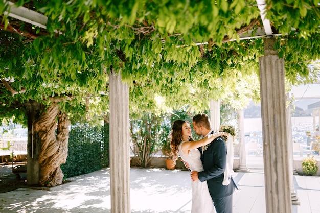 De glimlachende bruid koestert bruidegom op een zonnige dag in een groene tuin met kolommen