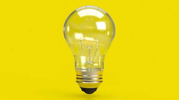 De gloeilamp op gele achtergrond voor onderwijs of creatief concept 3d-rendering
