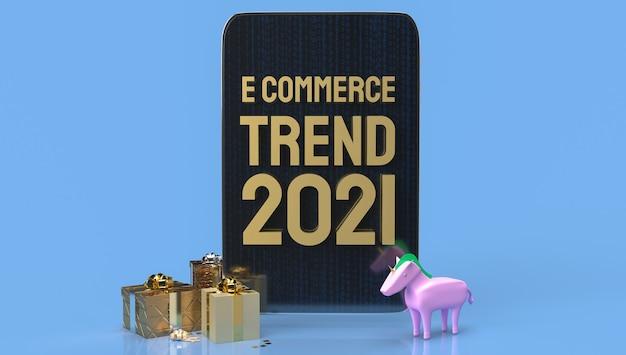 De gouden e-commerce fronttablet voor online marketing 3d-rendering.