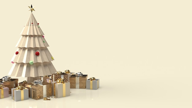 De gouden kerstboom en geschenkdoos voor nieuwjaarsinhoud