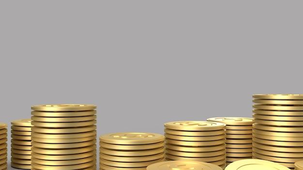De gouden munten op grijs oppervlak