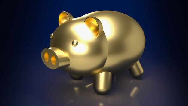 De gouden spaarpot voor onroerend goed of spaarconcept 3d-rendering