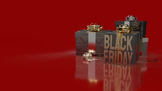 De gouden tekst en geschenkverpakkingen van black friday op rood