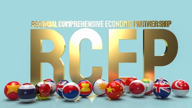 De gouden tekst rcep of regionaal uitgebreid economisch partnerschap en bal vlag 3d-rendering.