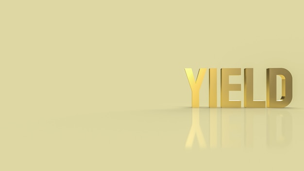 De gouden tekstopbrengst voor bedrijfsconcept 3d-rendering